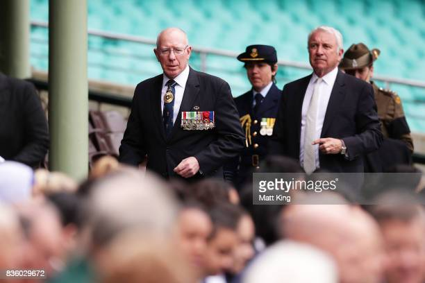 Governor of NSW David Hurley arrives a State Memorial service for Betty Cuthbert at Sydney Cricket Ground on August 21 2017 in Sydney Australia Betty...