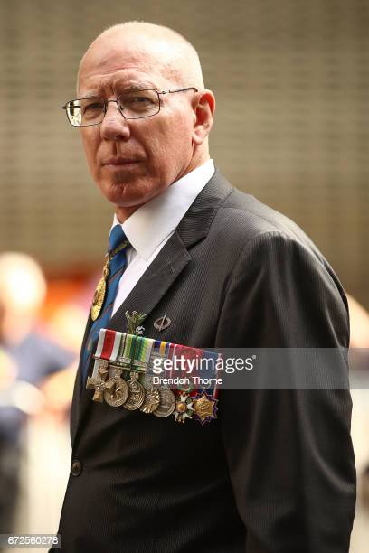 Governor of NSW David Hurley makes his way down Elizabeth Street during the ANZAC Day parade on April 25 2017 in Sydney Australia Australians...