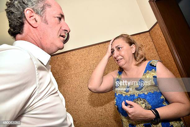 Governor of Regione Veneto visits a woman that has lost nearly everything during last night tornado on July 9 2015 in Venice Italy A tornado swept...