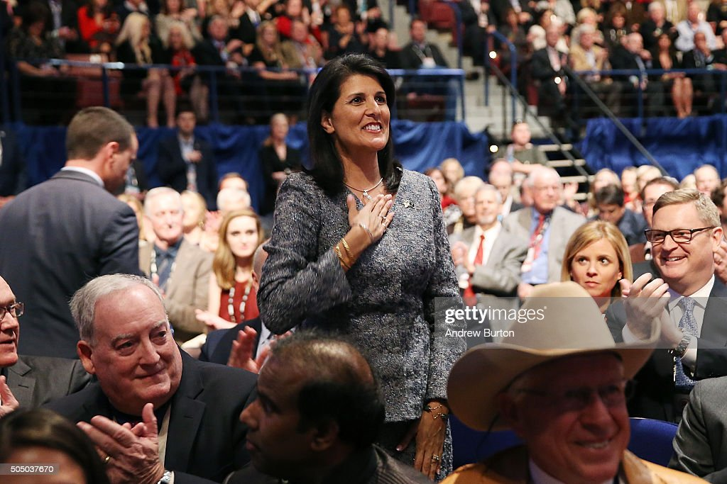 Governor of South Carolina Nikki Haley waves to the crowd prior to watching the Fox Business Network Republican presidential debate at the North...