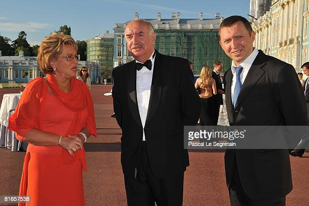 Governor of St Petersburg Valentina Matviyenko guest and Russian businessman Oleg V Deripaska attends the Maryinsky Ball held at the Catherine Palace...