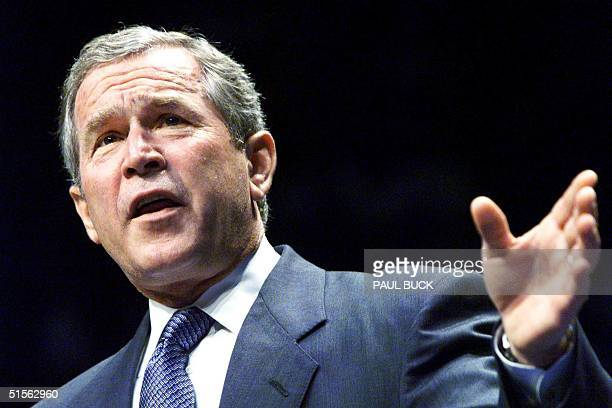 Governor of Texas and GOP presidential candidate George W Bush addresses supporters during a campaign rally at Moody Coliseum on the campus of...