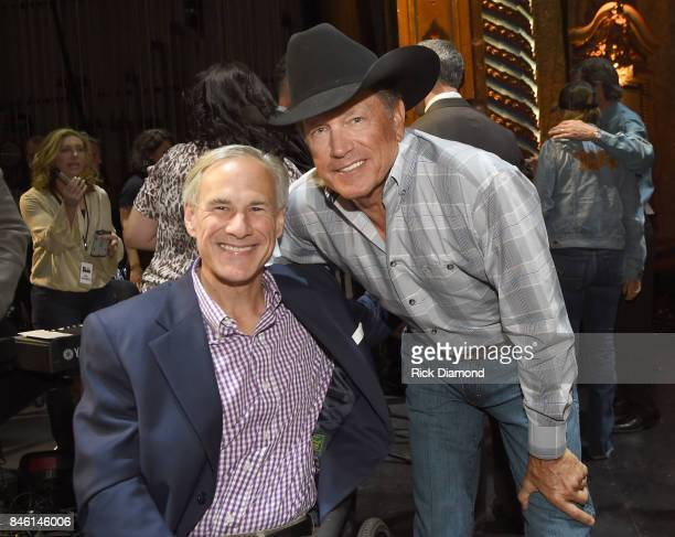 Governor of Texas Greg Abbott and country icon George Strait during a Press Conference held prior to Hand In Hand Texas Benefit Concert at Majestic...