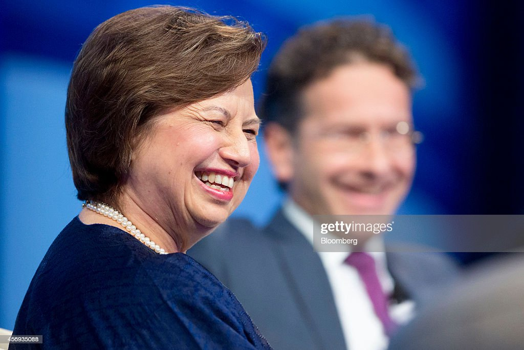 governor of the Bank Negara Malaysia left and Jeroen Dijsselbloem Dutch finance minister and president of the Eurogroup laugh at a panel discussion...