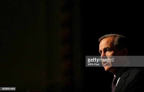 Governor of the Bank of England Mark Carney delivers a speech at the annual Peston Lecture at Queen Mary University on January 19 in London United...