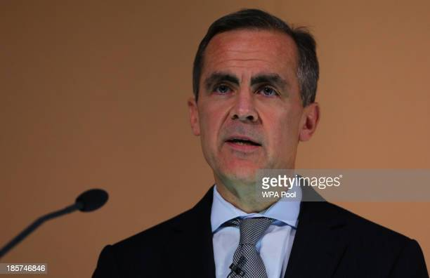 Governor of the Bank of England Mark Carney delivers his speech during the Financial Times 125th anniversary event on October 24 2013 in London...