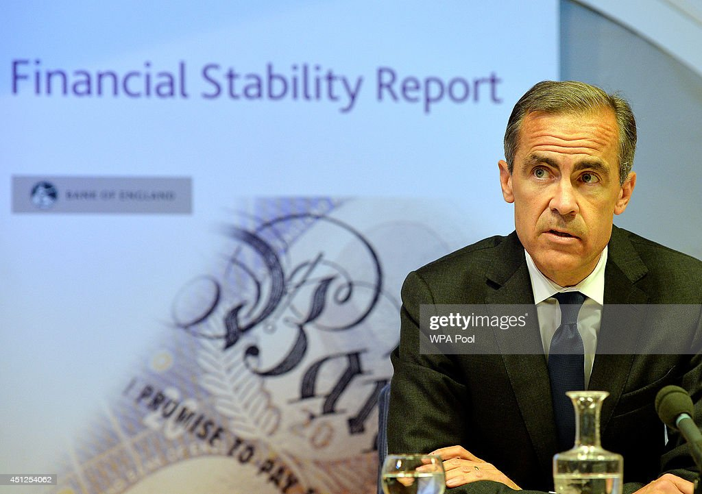 Governor of the Bank of England <a gi-track='captionPersonalityLinkClicked' href=/galleries/search?phrase=Mark+Carney&family=editorial&specificpeople=3028157 ng-click='$event.stopPropagation()'>Mark Carney</a> delivers the Bank of England Financial Stability Report at a news conference on June 26 in City of London, England. The Bank of England announced measures to prevent Britain's housing market from overheating including a cap to mortgages and the strengthening of affordability checks.