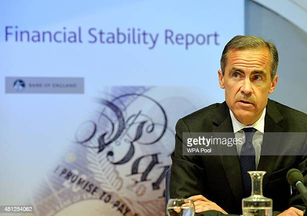 Governor of the Bank of England Mark Carney delivers the Bank of England Financial Stability Report at a news conference on June 26 in City of London...