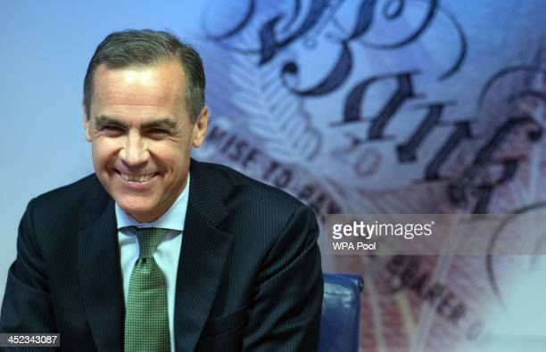 Governor of the Bank of England Mark Carney delivers this year's half yearly Financial Stability Report to journalists at the Bank of England on 28...