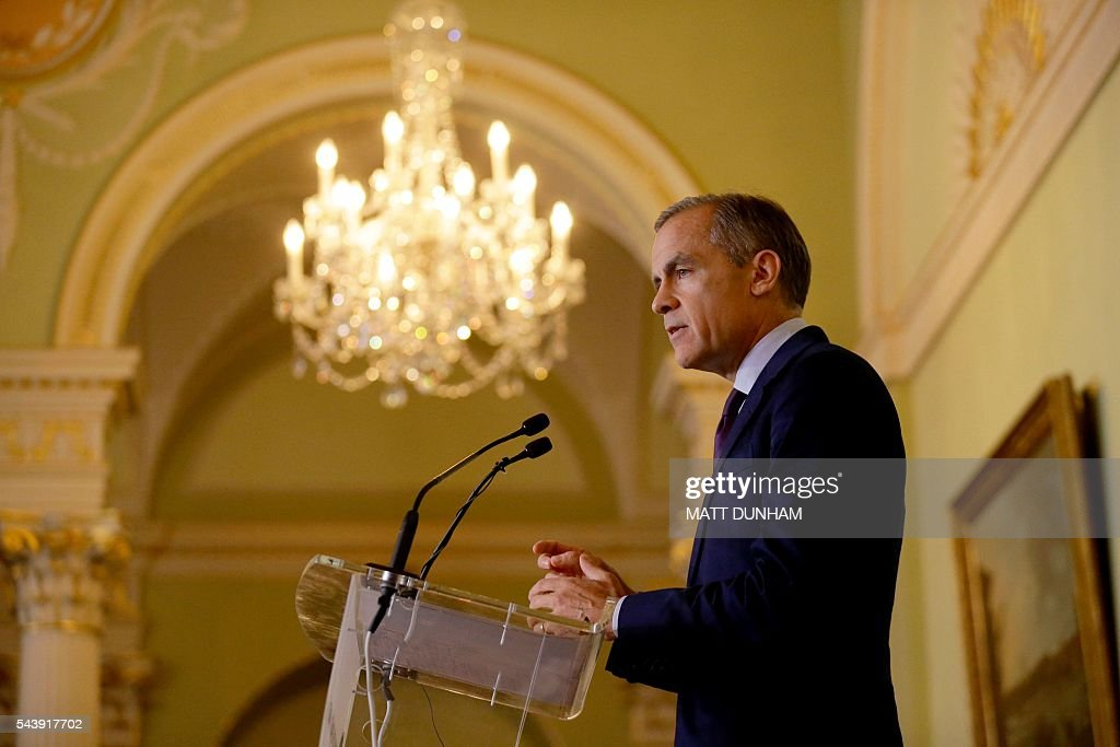 Governor of the Bank of England, Mark Carney gives a press conference at the Bank of England in the City of London, on June 30, 2016. Bank of England governor Mark Carney on Thursday suggested monetary easing may be required this summer, saying that the economic outlook had 'deteriorated' after Britain voted to leave the EU. 'The economic outlook has deteriorated and some monetary policy easing will likely be required over the summer,' he said in a speech in central London. / AFP / POOL / Matt Dunham