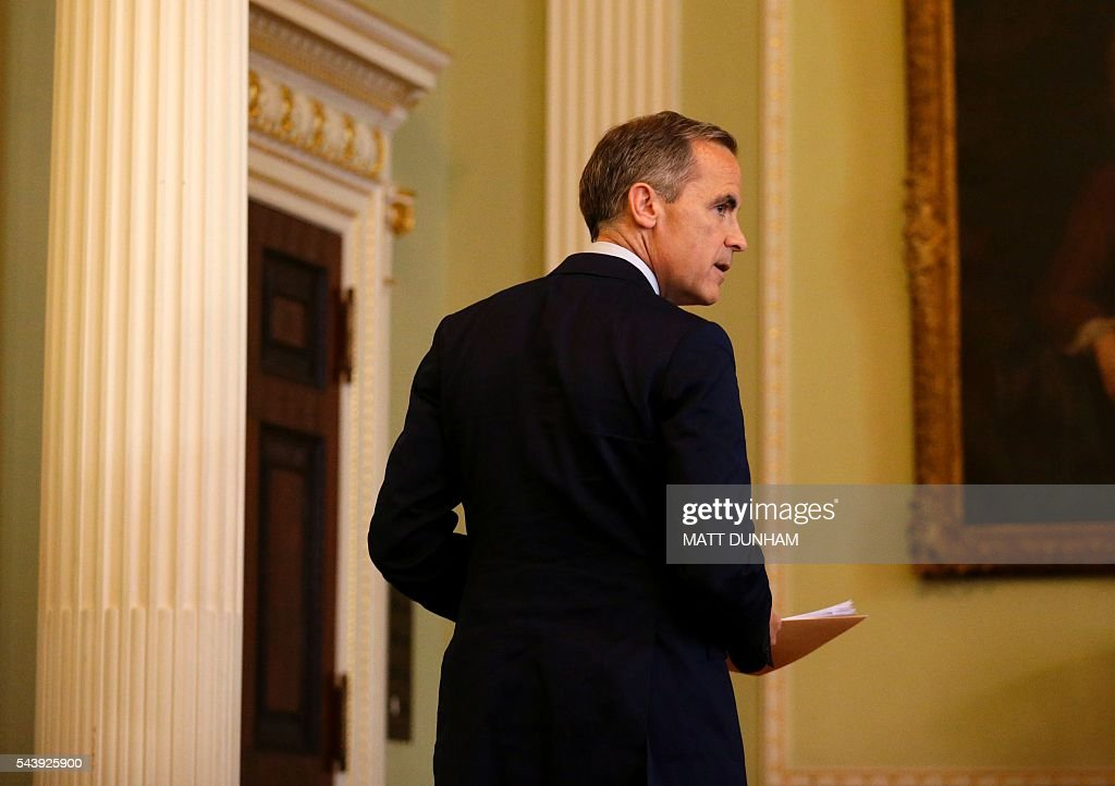 Governor of the Bank of England, Mark Carney leaves after giving a press conference at the Bank of England in the City of London, on June 30, 2016. Bank of England governor Mark Carney on Thursday suggested monetary easing may be required this summer, saying that the economic outlook had 'deteriorated' after Britain voted to leave the EU. 'The economic outlook has deteriorated and some monetary policy easing will likely be required over the summer,' he said in a speech in central London. / AFP / POOL / Matt Dunham