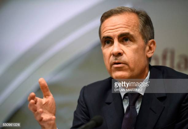 Governor of the Bank of England Mark Carney speaks during his quarterly inflation report press conference at the Bank of England in central London on...