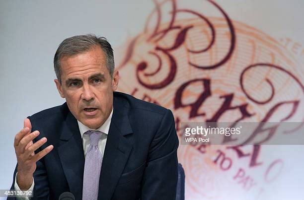 Governor of the Bank of England Mark Carney speaks during the quarterly inflation report press conference at the Bank of England on August 6 2015 in...