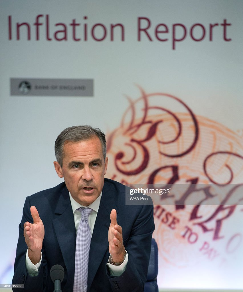 Governor of the Bank of England <a gi-track='captionPersonalityLinkClicked' href=/galleries/search?phrase=Mark+Carney&family=editorial&specificpeople=3028157 ng-click='$event.stopPropagation()'>Mark Carney</a> speaks during the quarterly inflation report press conference at the Bank of England on August 6, 2015 in London, England. Members of the Bank's Monetary Policy Committee (MPC) voted 8-1 to leave interest rates on hold this month at 0.5%, where they have remained for more than six years.
