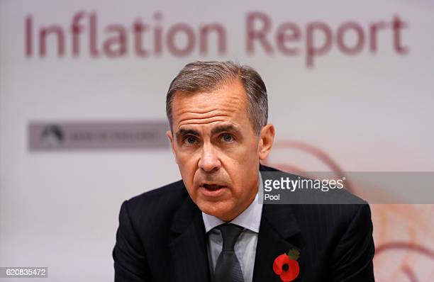 Governor of the Bank of England Mark Carney speaks during the quarterly Inflation Report press conference at The Bank of England on November 3 2016...
