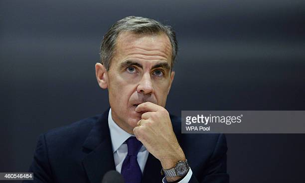 Governor of the Bank of England Mark Carney speaks during the Bank of England's Financial Stability Report press conference at the Bank of England on...