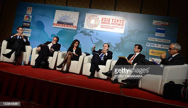 Governor of the Bank of Italy Ignazio Visco speaks during a seminar as part of the annual meeting of the World Bank and the International Monetary...