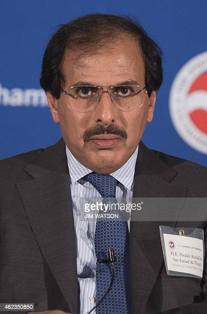Governor of the Central Bank of Qatar Sheikh Abdullah bin Saud alThani speaks at the US Chamber of Commerce i Washington DC January 27 2015 AFP...