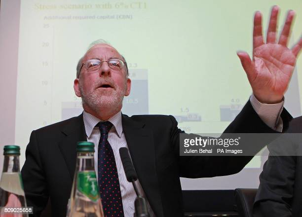 Governor of The Central Bank Patrick Honohan speaks during a press conference in the Central Bank in Dublin where he and Financial Regulator Matthew...
