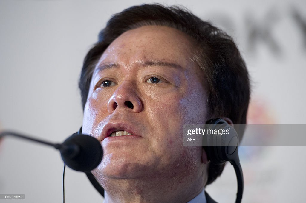 Governor of Tokyo and Tokyo 2020 Chairman Naoki Inose speaks during a press conference in London on January 10, 2013 to launch their candidature file for the 2020 Olympic and Paralympic Games. Tokyo is bidding to host its first Summer Olympics since the 1964 Games. The plan features a 'compact' and 'dynamic' Olympics based on Tokyo's financial wealth and track record in hosting international sports events. It also aims to allay fears of damage from a big earthquake or radiation from the 2011 Fukushima nuclear disaster.