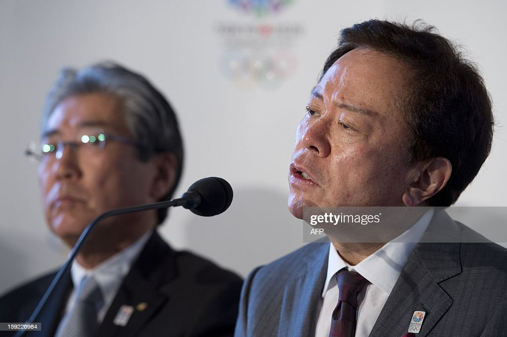 Governor of Tokyo and Tokyo 2020 Chairman Naoki Inose (R) speaks during a press conference in London on January 10, 2013 to launch their candidature file for the 2020 Olympic and Paralympic Games. Tokyo is bidding to host its first Summer Olympics since the 1964 Games. The plan features a 'compact' and 'dynamic' Olympics based on Tokyo's financial wealth and track record in hosting international sports events. It also aims to allay fears of damage from a big earthquake or radiation from the 2011 Fukushima nuclear disaster.
