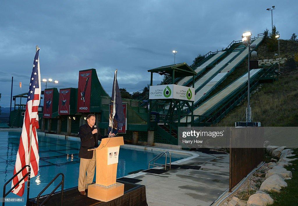 Governor of Utah, Gary Herbert speaks during the Team USA media summit opening reception at Utah Olympic Park on September 29, 2013 in Park City, Utah.