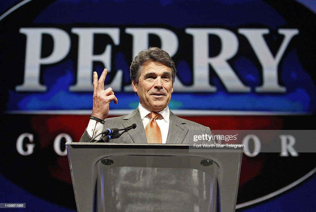Governor Rick Perry addresses the opening session of the Texas state Republican convention at the FWCC on Thursday June 7, 2012 in Fort Worth, Texas.
