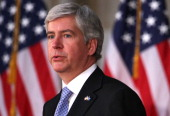 Governor Rick Snyder of Michigan speaks during a dedication ceremony of the statue of former President Gerald Ford at the Rotunda of the Capitol May...