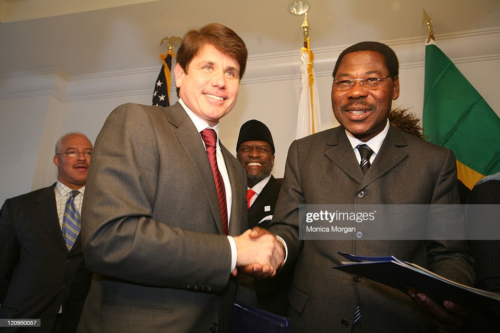 Governor <a gi-track='captionPersonalityLinkClicked' href=/galleries/search?phrase=Rod+Blagojevich&family=editorial&specificpeople=225001 ng-click='$event.stopPropagation()'>Rod Blagojevich</a> of Illinois and President <a gi-track='captionPersonalityLinkClicked' href=/galleries/search?phrase=Yayi+Boni&family=editorial&specificpeople=3974519 ng-click='$event.stopPropagation()'>Yayi Boni</a> of Benin