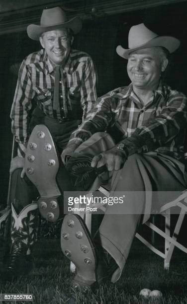 Governor Thornton and John Justin Jr Governor Thornton tries on the only known pair of golfing cowboy boots in existence The boots were presented to...