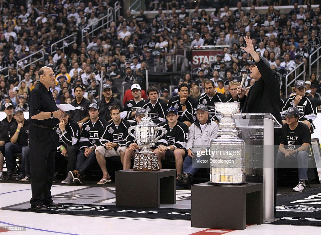 Governor Tim Leiweke of the Los Angeles Kings addresses the fans during the rally in Staples Center after the Los Angeles Kings Stanley Cup Victory Parade on June 14, 2012 in Los Angeles, California.