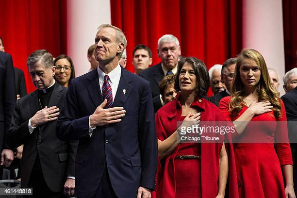 Governorelect Bruce Rauner is sworn into office at the Prairie Capital Convention Center on Monday Jan 12 2015 in Springfield Ill