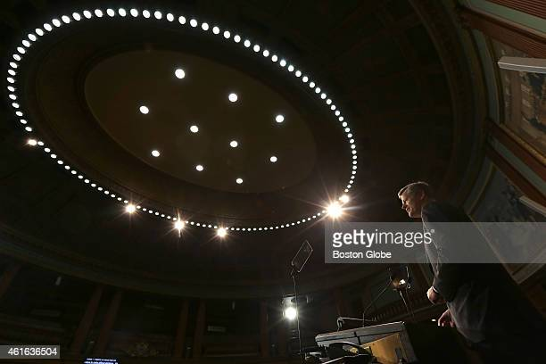 Governorelect Charlie Baker practices his inaugural address using the teleprompter in the House Chamber on January 7 2015 He admitted to being very...