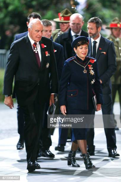 GovernorGeneral Dame Patsy Reddy arrives with husband Sir David Gascoigne during Anzac Day dawn service at Pukeahu National War Memorial Park on...