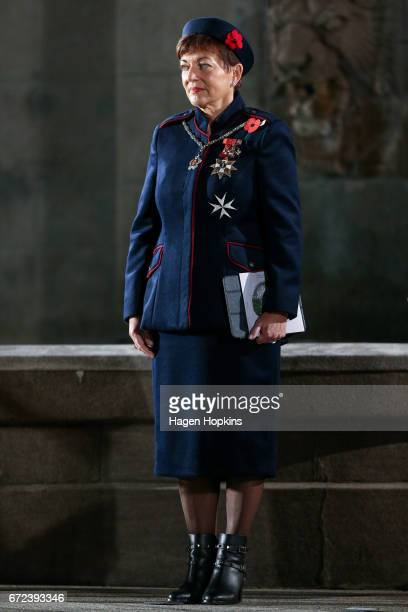 GovernorGeneral Dame Patsy Reddy looks on during Anzac Day dawn service at Pukeahu National War Memorial Park on April 25 2017 in Wellington New...