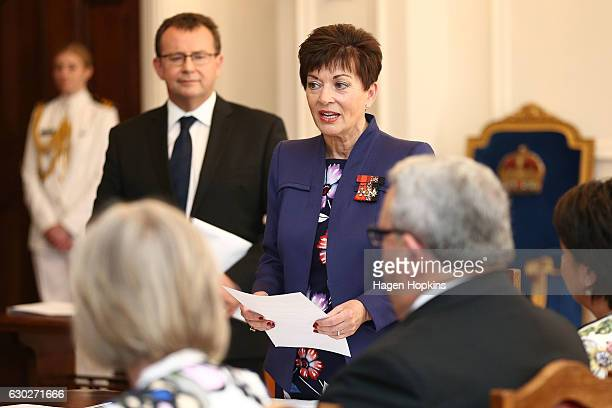 GovernorGeneral Dame Patsy Reddy speaks during a ceremony at Government House on December 20 2016 in Wellington New Zealand Bill English announced...