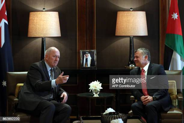 GovernorGeneral of Australia Peter Cosgrove meets with Jordanian King Abdullah II at the Royal Palace in Amman on October 18 2017 / AFP PHOTO /...