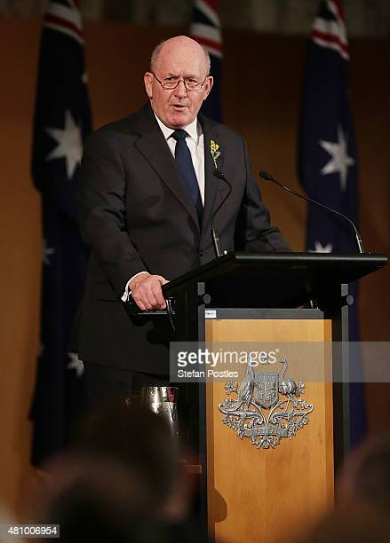 GovernorGeneral of Australia Sir Peter Cosgrove speaks during a memorial service honouring victims of flight MH17 on July 17 2015 in Canberra...
