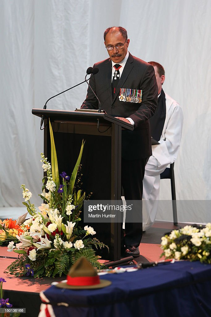 Governor-General Sir Jerry Mateparae addresses a Military Commemorative Service for LCPL Durrer and LCPL Malone at Burnam Military Camp on August 11, 2012 in Christchurch, New Zealand. The bodies of the two New Zealand soldiers killed in Afghanistan arrived in Christchurch last night. Private funeral services will then be held by their families.
