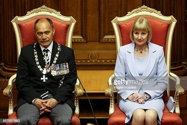 GovernorGeneral Sir Jerry Mateparae and Lady Janine Mateparae look on from their thrones during the 51st Parliament's State Opening Ceremony at...