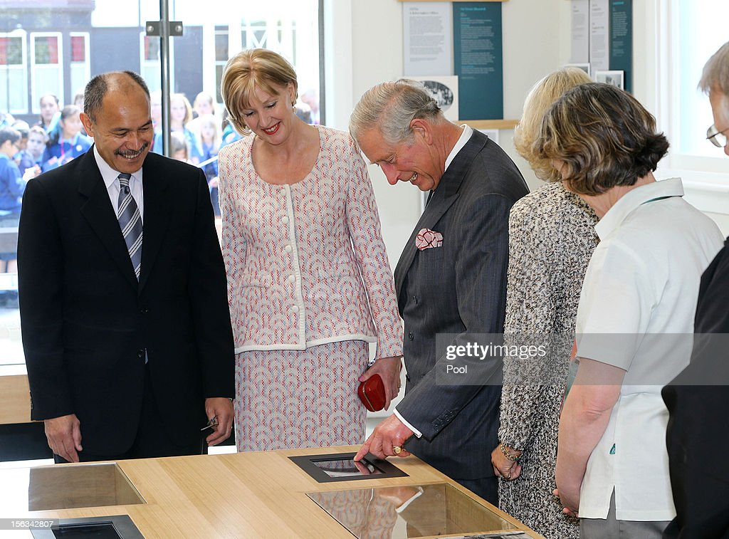 Governor-General Sir Jerry Mateparae, Lady Janine Mateparae, Prince Charles, Prince of Wales and Camilla, Duchess of Cornwall officially open New Zealand's Diamond Jubilee gift to Her Majesty The Queen, a new Visitor Centre at Government House on November 14, 2012 in Wellington, New Zealand. The Royal couple are in New Zealand on the last leg of a Diamond Jubilee that takes in Papua New Guinea, Australia and New Zealand.