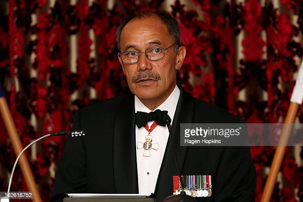 GovernorGeneral Sir Jerry Mateparae makes a speech during a State Dinner at Government House on February 25 2013 in Wellington New Zealand The King...