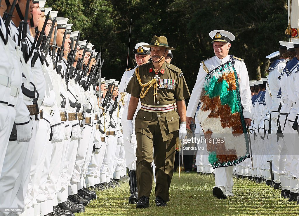 Governor-General Sir Jerry Mateparae reviews the Beat the retreat at the Treaty Grounds on February 5, 2013 in Waitangi, New Zealand. The Waitangi Day national holiday celebrates the signing of the treaty of Waitangi on February 6, 1840 by Maori chiefs and the British Crown, that granted the Maori people the rights of British Citizens and ownership of their lands and other properties.