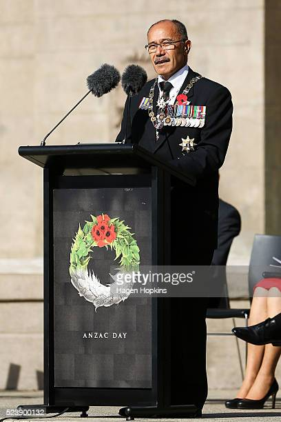 GovernorGeneral Sir Jerry Mateparae speaks during the National Commemoration Service at Pukeahu National War Memorial Park on April 25 2016 in...
