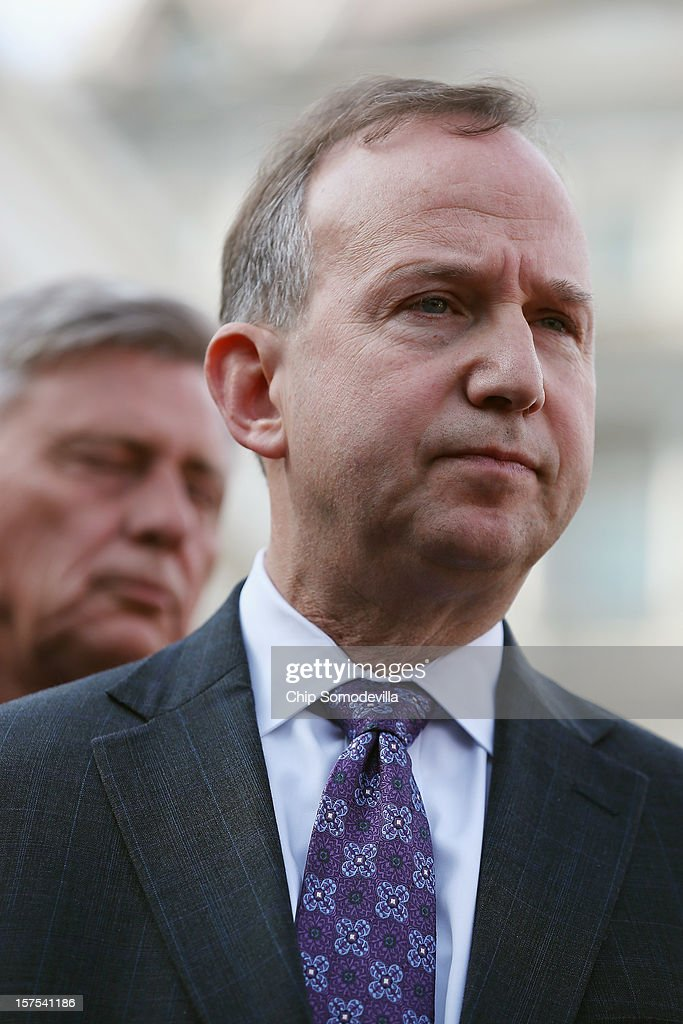 S Governors Association Executive Committee Chairman Delaware Gov Jack Markell talks to reporters after the committee met with President Barack Obama...