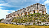 Just about the finest example of the Puuc style of architecture, the Governor's Palace is one of the most admired of pre-Columbian structures. Located in  Uxmal, Yucatan, Mexico.