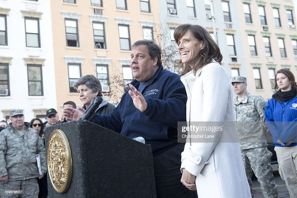 Govoner <a gi-track='captionPersonalityLinkClicked' href=/galleries/search?phrase=Chris+Christie&family=editorial&specificpeople=6480114 ng-click='$event.stopPropagation()'>Chris Christie</a> addresses the Public and media November 4th 2012 to give an update on the storm damage that have left residents without power for almost a week from the devastation from flooding brought on by Superstorm Sandy.
