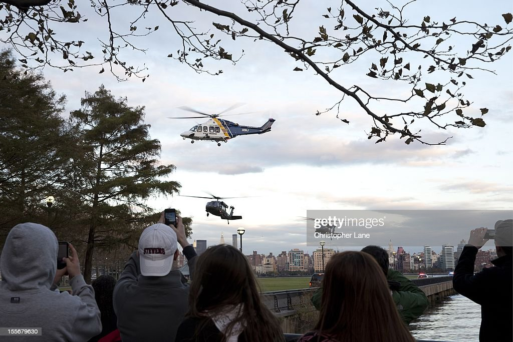 Govoner Chris Christie leaves in his helicopter November 4th, 2012 after addressing the Public and media to give an update on the storm damage that have left residents without power for almost a week from the devastation from flooding brought on by Superstorm Sandy.