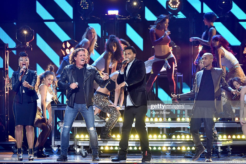 Goyo of ChocQuibTown, singer Carlos Vives, and Tostao and Slow of ChocQuibTown perform onstage during rehearsals for the 15th annual Latin GRAMMY Awards at the MGM Grand Garden Arena on November 19, 2014 in Las Vegas, Nevada.