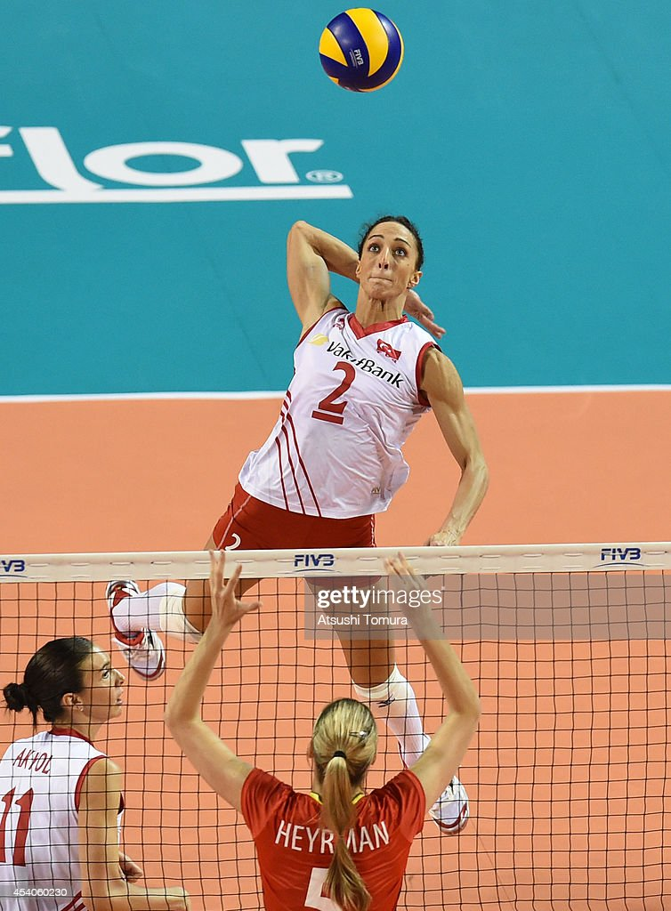 Gozde Sonsirma of Turkey spikes the ball during the FIVB World Grand Prix Final group one match between Turkey and Belgium on August 24, 2014 in Tokyo, Japan.